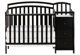 Black Casco 3 in 1 Convertible Mini Crib and Dressing Table Combo Silo Front