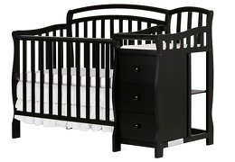 Black Casco 3 in 1 Convertible Mini Crib and Dressing Table Combo Silo Side