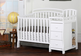White Casco 3 in 1 Convertible Mini Crib and Dressing Table Combo RS