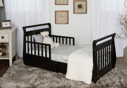 Black Sleigh Toddler Bed With Storage Drawer RoomShot