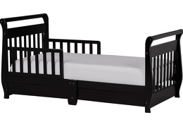 Black Sleigh Toddler Bed With Storage Drawer Silo
