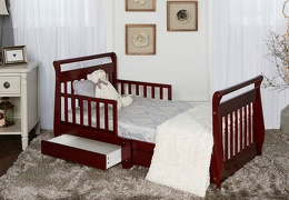 Cherry Sleigh Toddler Bed With Storage Drawer RoomShot