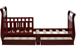 Cherry Sleigh Toddler Bed With Storage Drawer Silo