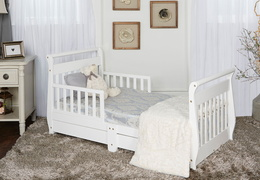 White Sleigh Toddler Bed With Storage Drawer Room Shot