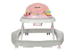 Pink/Grey 2 in 1 Crossover Musical Walker and Rocker Front