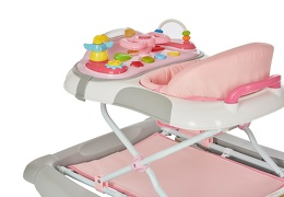 Pink/Grey 2 in 1 Crossover Musical Walker and Rocker
