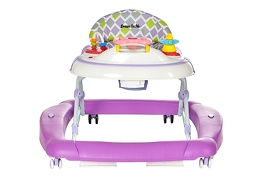 Purple 2 in 1 Crossover Musical Walker and Rocker Front