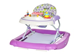 Purple 2 in 1 Crossover Musical Walker and Rocker Side