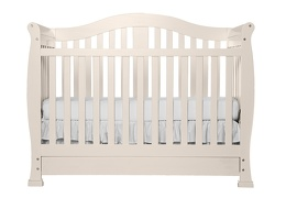 French White Addison 5 in 1 Convertible Crib Silo Front