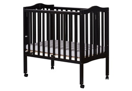 Black 2 in 1 Lightweight Folding Portable Crib Silo Side