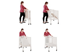 White 2 in 1 Lightweight Folding Portable Crib Collage Lifestyle