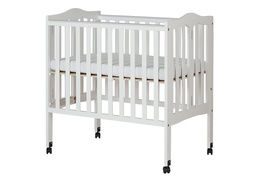 White 2 in 1 Lightweight Folding Portable Crib Silo Side