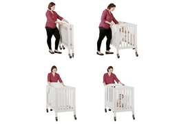 White 2 in 1 Folding, Birch Portable Crib Collage with Baby