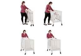White 2 in 1 Folding Portable Crib Collage
