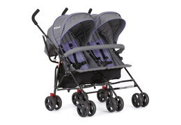 Purple and Dark Grey - Volgo Twin Umbrella Stroller 01