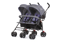 Purple and Dark Grey - Volgo Twin Umbrella Stroller 02