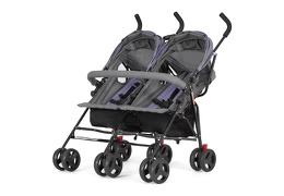 Purple and Dark Grey - Volgo Twin Umbrella Stroller 03