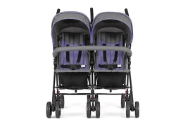 Purple and Dark Grey - Volgo Twin Umbrella Stroller 04