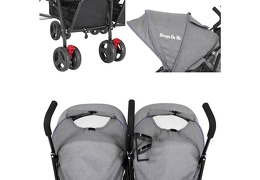 Purple and Dark Grey - Volgo Twin Umbrella Stroller 09