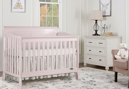 Blush Pink - Ashton Full Panel 5-in-1 Convertible Crib RS