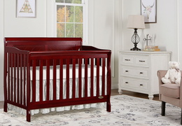 Cherry - Ashton Full Panel 5-in-1 Convertible Crib RS