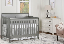 Storm Grey - Ashton Full Panel 5-in-1 Convertible Crib RS