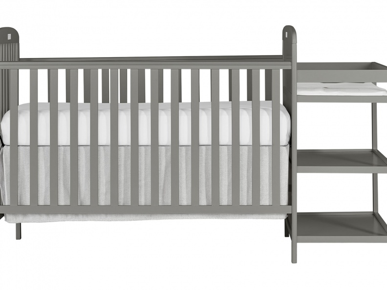 678-SGY 4 in 1 Full Size Crib & Changing Table Combo Front Silo