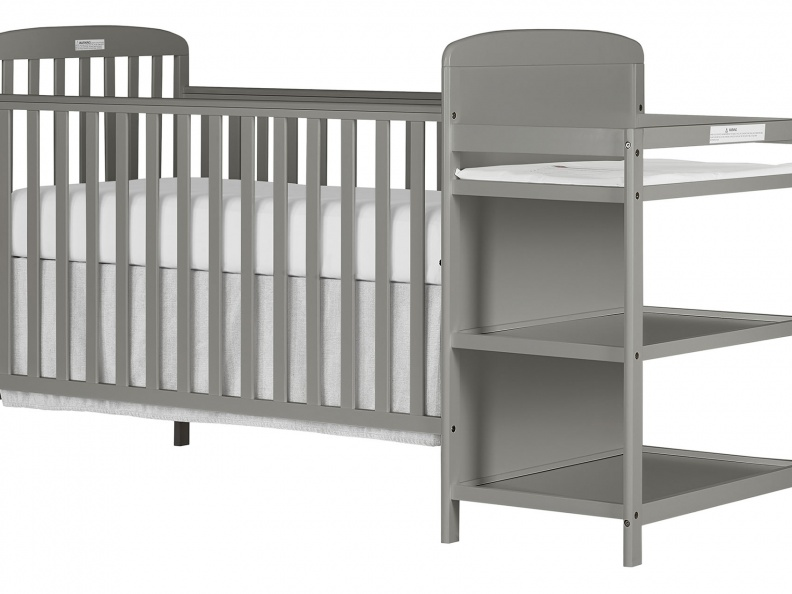 678-SGY 4 in 1 Full Size Crib & Changing Table Combo Side Silo