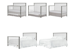 Alexa 5 in 1 Convertible Crib Collage - Brushed Silver Grey Pearl