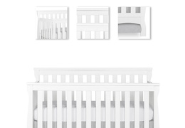 White Keyport 5 in 1 Convertible Crib Details