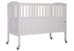 White Folding Full Size Convenience Crib Silo Side