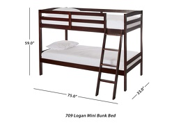Logan Mini Twin Over Twin Bunk Bed Dimension 709-E