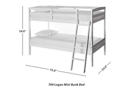 Logan Mini Twin Over Twin Bunk Bed Dimension 709-W