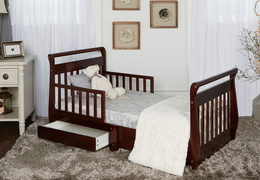 Espresso Sleigh Toddler Bed With Storage Drawer RS1