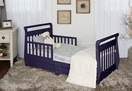 Navy Sleigh Toddler Bed With Storage Drawer RS
