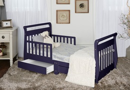 Navy Sleigh Toddler Bed With Storage Drawer RS1