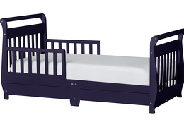 Navy Sleigh Toddler Bed With Storage Drawer Silo1