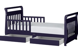 Navy Sleigh Toddler Bed With Storage Drawer Silo2
