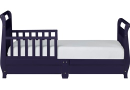Navy Sleigh Toddler Bed With Storage Drawer Silo3