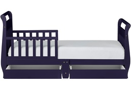 Navy Sleigh Toddler Bed With Storage Drawer Silo4