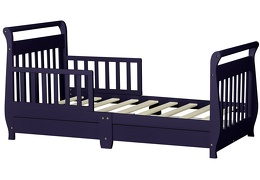 Navy Sleigh Toddler Bed With Storage Drawer Silo5