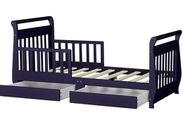 Navy Sleigh Toddler Bed With Storage Drawer Silo6