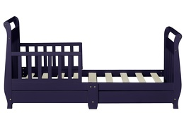 Navy Sleigh Toddler Bed With Storage Drawer Silo7