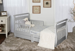 Pebble Grey Sleigh Toddler Bed With Storage Drawer RS