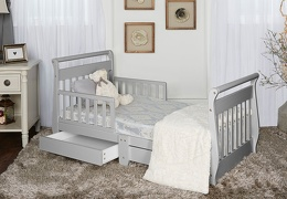 Pebble Grey Sleigh Toddler Bed With Storage Drawer RS1