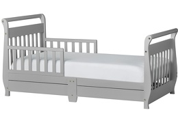 Pebble Grey Sleigh Toddler Bed With Storage Drawer Silo1