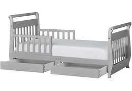 Pebble Grey Sleigh Toddler Bed With Storage Drawer Silo2