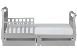 Pebble Grey Sleigh Toddler Bed With Storage Drawer Silo4