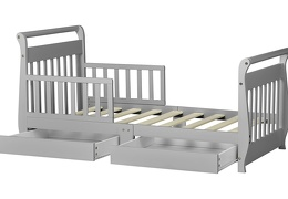 Pebble Grey Sleigh Toddler Bed With Storage Drawer Silo6