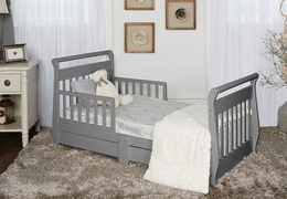 Storm Grey Sleigh Toddler Bed With Storage Drawer RS